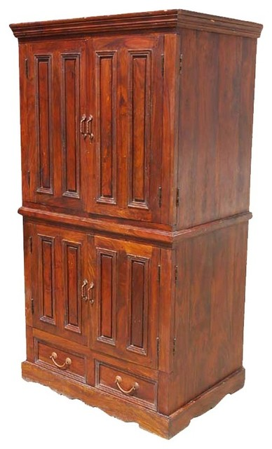 Solid wood double door tv cabinet media storage armoire