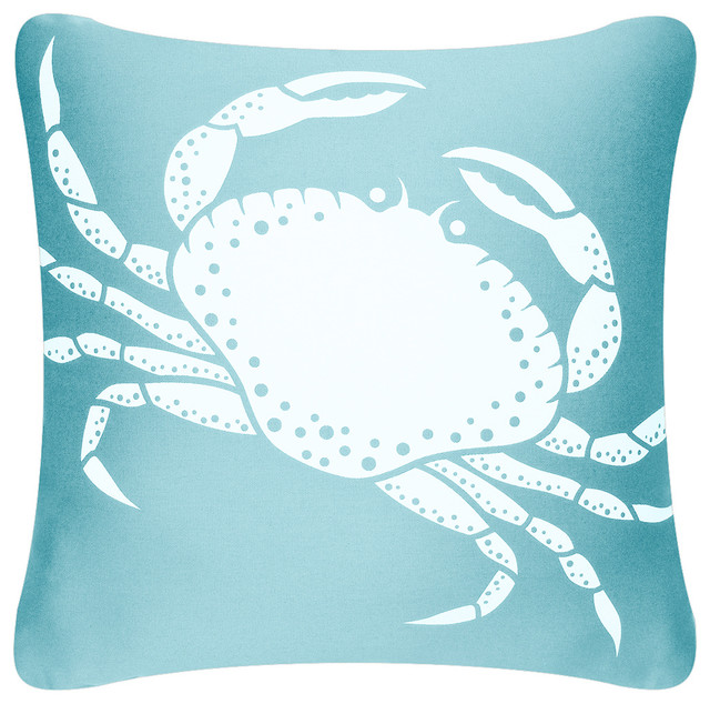 Organic Cotton Throw Pillow Inserts : Crab Organic Cotton Decorative Square Throw Pillow, Ocean Blue, Without Insert - Coastal ...