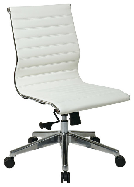 Eames armless mid back office chair in white modern for Armless office chairs