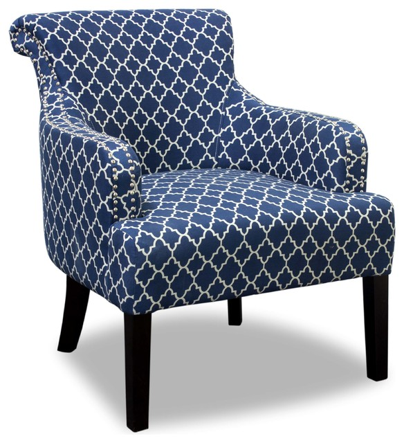 Regency Living Room Accent Chair, Blue and White ...
