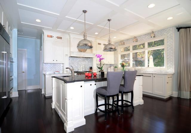 Open Plan Soft White Cabinets Contrasting Dark Floors ...