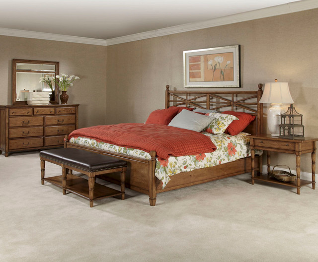 American Drew Americana Home 4 Piece Poster Bedroom Set In Warm Oak Contemporary Beds By