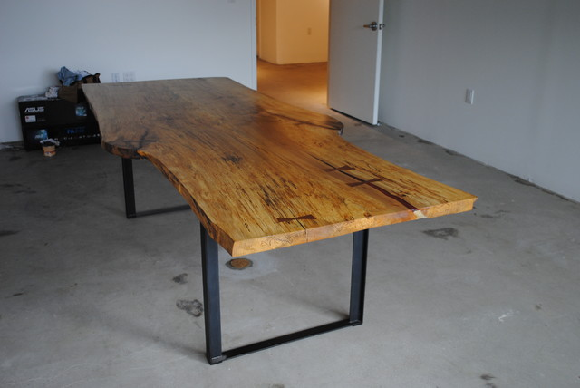 Maple live edge slab dining table contemporary dining for Live edge wood slabs new york