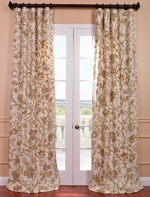 Chantal Embroidered Cotton Crewel Curtain Traditional