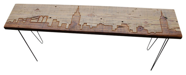 New York Reclaimed Wood Console Table Thick 84 X11 5