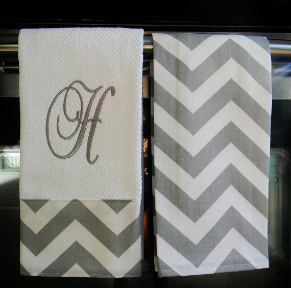 Gray and White Chevron Monogrammed Dish Towels by Designs By Them