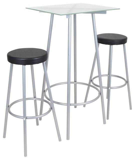 perka 3 piece bar set silver contemporary indoor pub and bistro sets