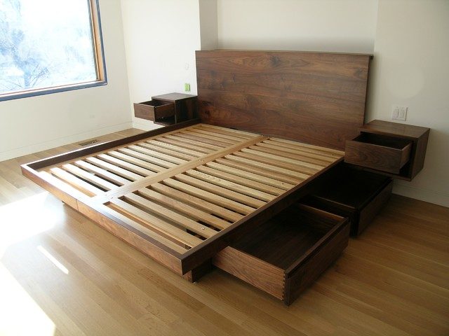 Platform Bed With Drawers Contemporary Platform Beds