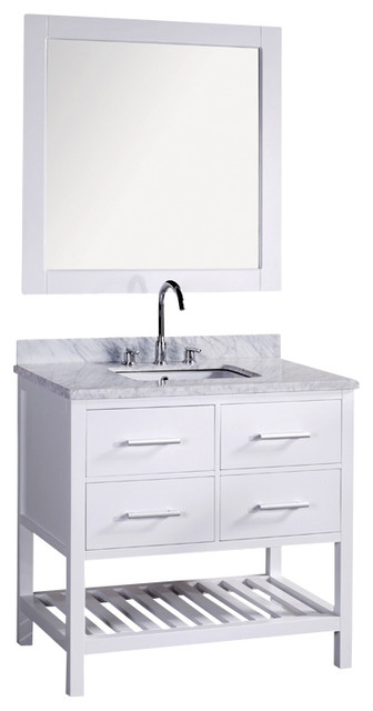 30 london white bathroom vanity with marble top mirror for Marble top console sink