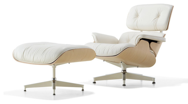 Eames Lounge Chair White Ash Frame Midcentury Living Room Chairs