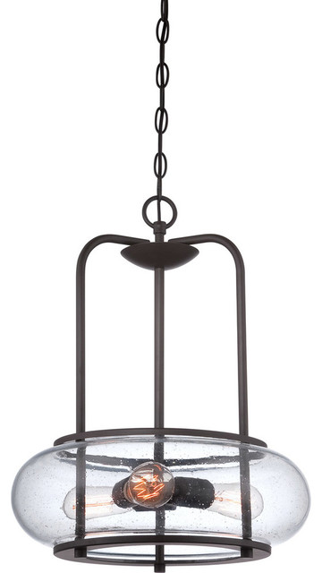 Quoizel trg1816oz trilogy 3 light pendants in old bronze for Houzz rustic lighting