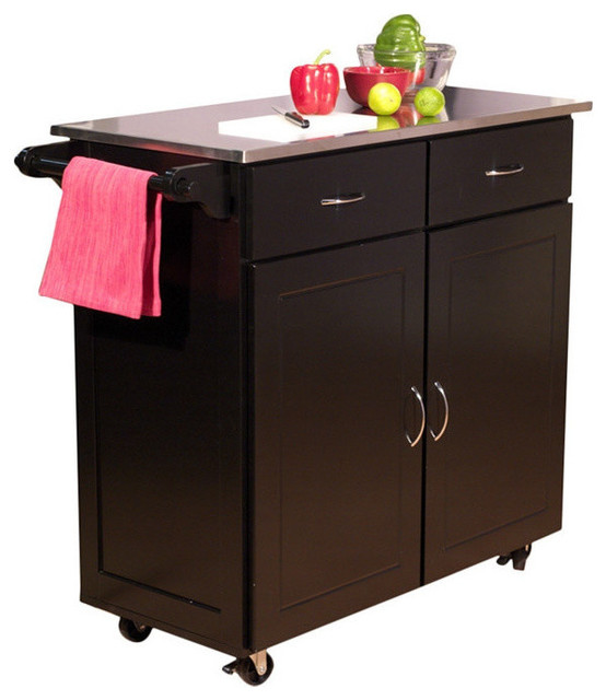Contemporary Kitchen Island Cart With Stainless Steel Top