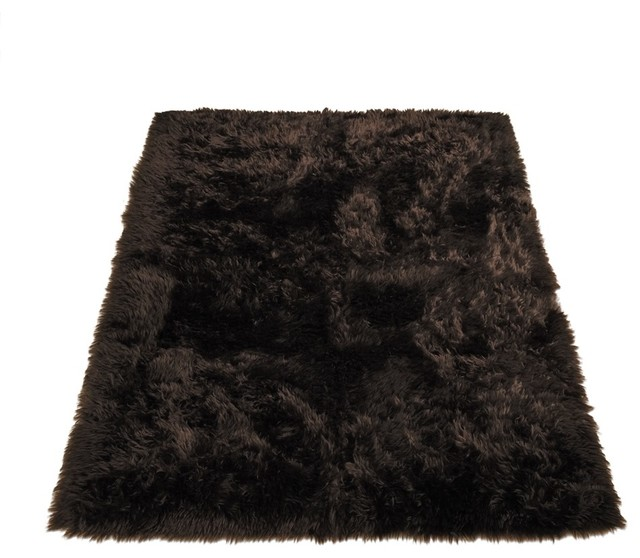 Classic brown bear faux fur rectangle rug area rugs by for Fur rugs