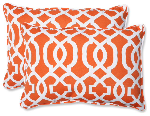 Geo Oversized Rectangular Throw Pillows, Orange, Set of 2 - Contemporary - Garden Cushions - by ...