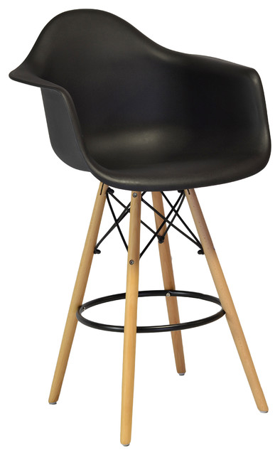 Mid Century Modern DAW Style Counter Stool Black  : contemporary bar stools and counter stools from www.houzz.com size 394 x 640 jpeg 38kB