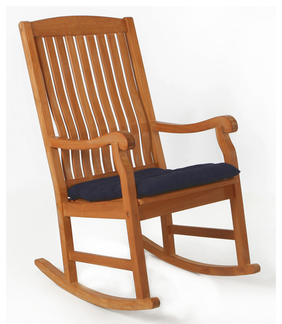 Teak Rocker With Blue Cushion Traditional Outdoor