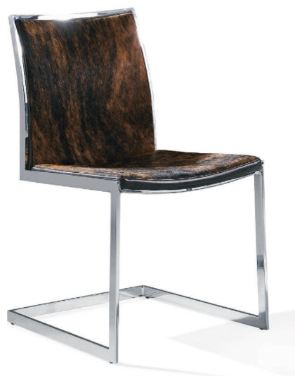 Cowhide Lunar Chair Dark Cowhide Modern Dining Chairs