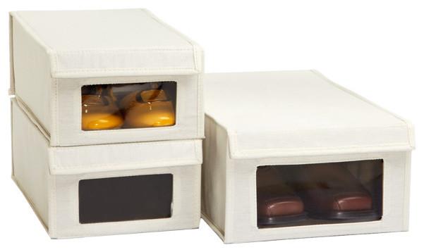 Drop-Front Canvas Shoe Boxes - Closet Storage - by The ...