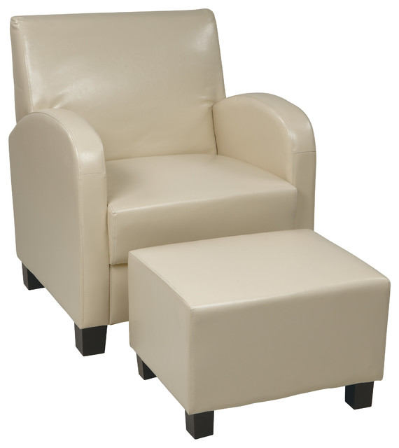 Cream Faux Leather Club Chair With Ottoman Contemporary Armchairs And Acc
