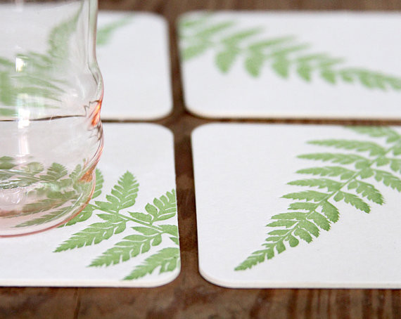 Woodland Fern Letterpress Coasters Red Bird Ink - Contemporary - Coasters - by Etsy