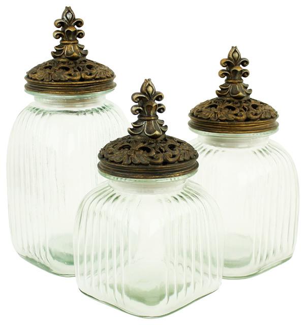amora glass jars with lids set of 3 mediterranean. Black Bedroom Furniture Sets. Home Design Ideas
