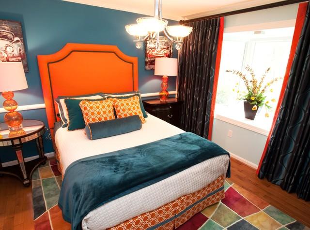 Orange and teal guest bedroom - Orange and teal decor ...