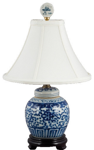 Small Blue And White Lamp Asian Table Lamps By