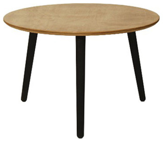 Table basse en bois design pieds noir 70 cm contemporary coffee tables - Table basse bois noir ...