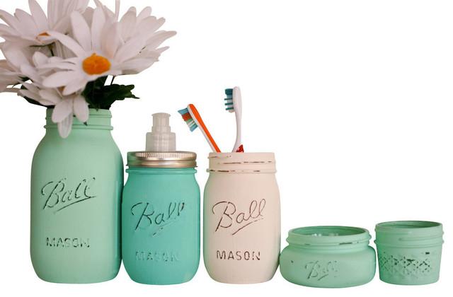 Painted mason jars 5 piece bathroom set sea foam mint for Sea green bathroom accessories