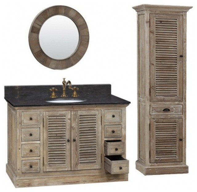 "48"" Single Sink Bathroom Vanity With Black Marble Farmhouse Bathroom"