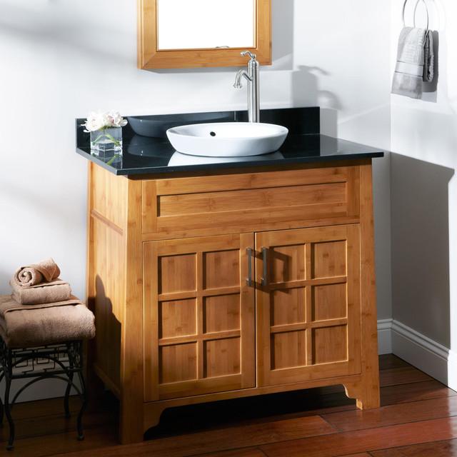 36 bangkok bamboo vanity for semi recessed sink modern for Modern bamboo bathroom vanity
