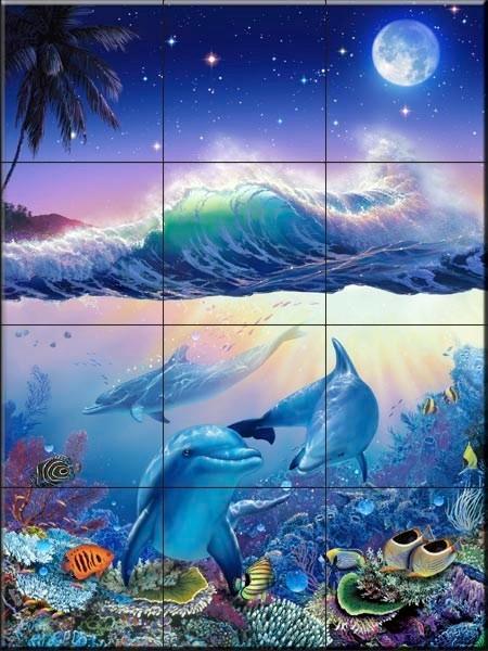 Tile mural blue world the moon crl kitchen for Blue moon mural