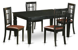 noah dining table set black 5 pieces faux leather dining sets