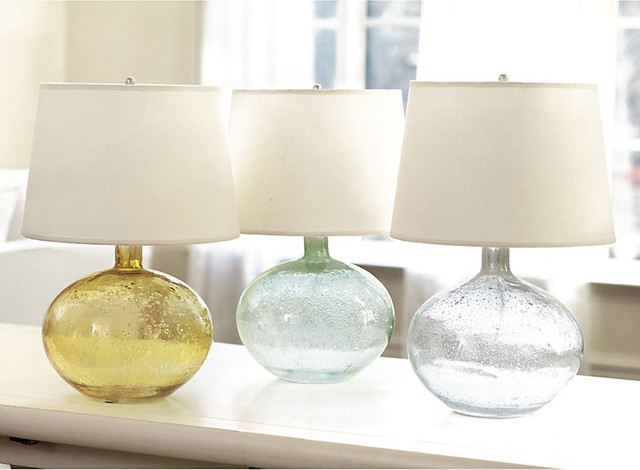 Malia Seeded Glass Table Lamp Seaglass Contemporary Table Lamps By Ba