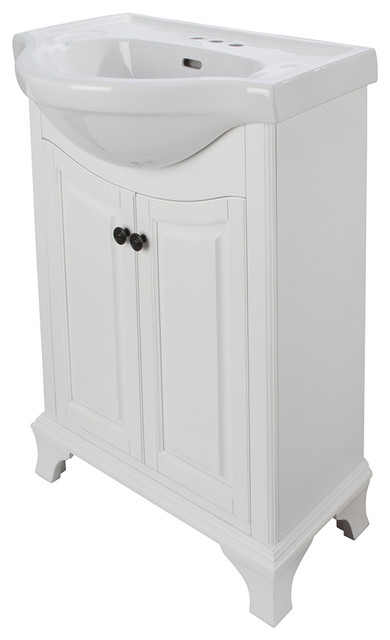 Corsicana 26 white bathroom vanity with vitreous china sink transitional bathroom vanities for Foremost corsicana 24 in bathroom wall cabinet