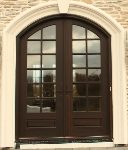 Hershey Hill Arch Top True Divided Lite Mahogany Double Entry Door Contempo