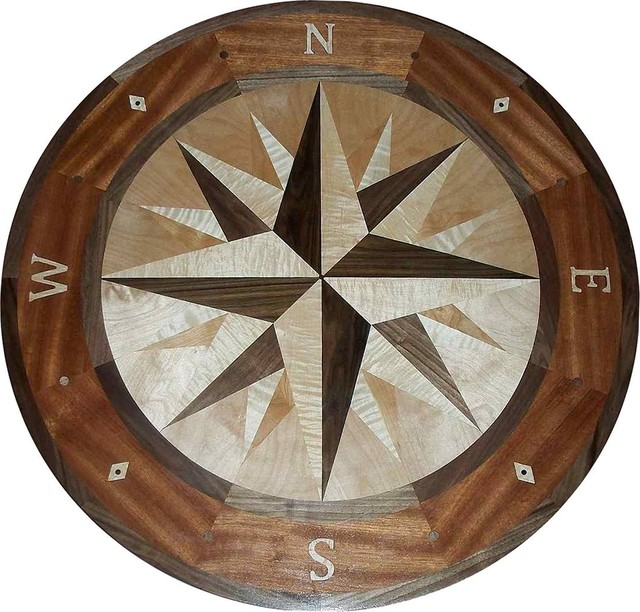 Compass Rose Floor Tile : Hardwood compass rose floor medallion quot mana style