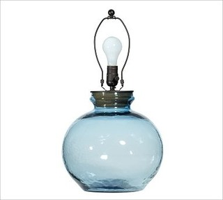 Clift Glass Small Round Table Lamp Base Light Blue