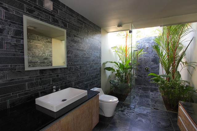 Island Stone Silver Quartzitic Slate Bath With Plank