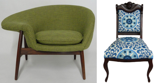 Vintage Chairs Rebuilt and Upholstered Armchairs And