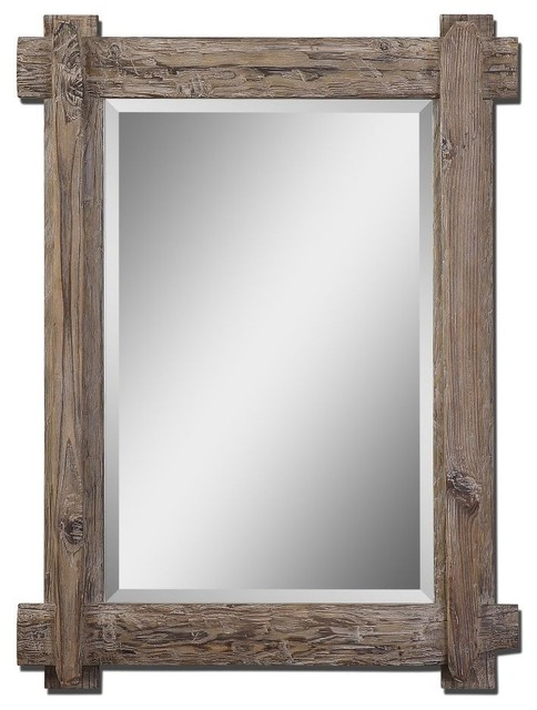 Old Fashioned Rustic Wall Mirror Walnut Stained Wood Frame