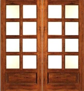 Rustic 8 lite p b french solid wood 1 panel ig glass for Solid wood patio doors
