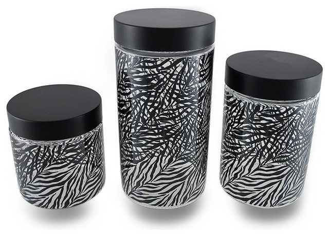 Clear glass storage jars w black zebra print and lids set for Black glass bathroom accessories