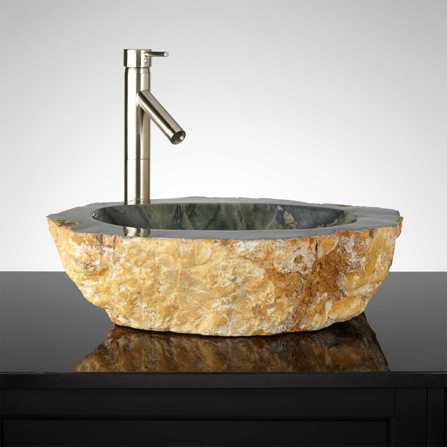 Kara Suu Natural Stone Vessel Sink Traditional Bathroom Sinks