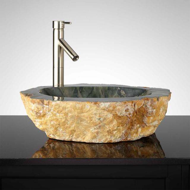 Kara suu natural stone vessel sink traditional for Natural stone bathroom sinks