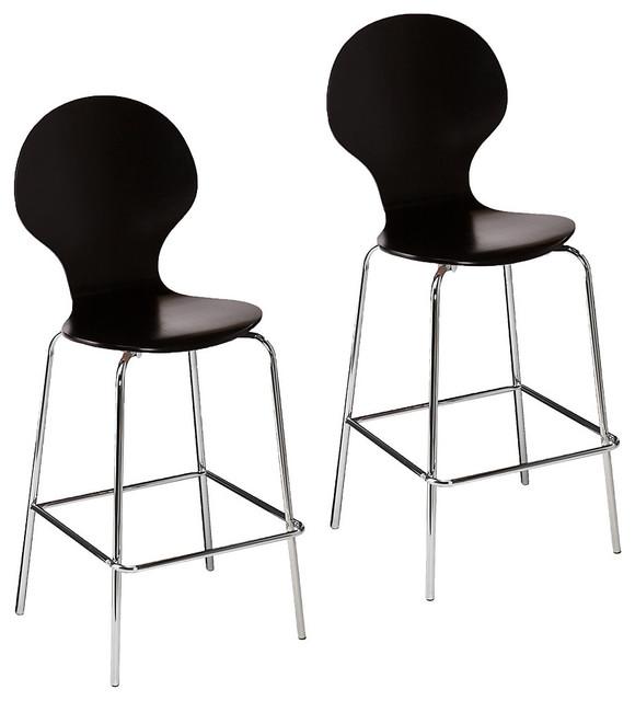 Barstools, Set of 2 Red Orange modern bar stools and kitchen stools