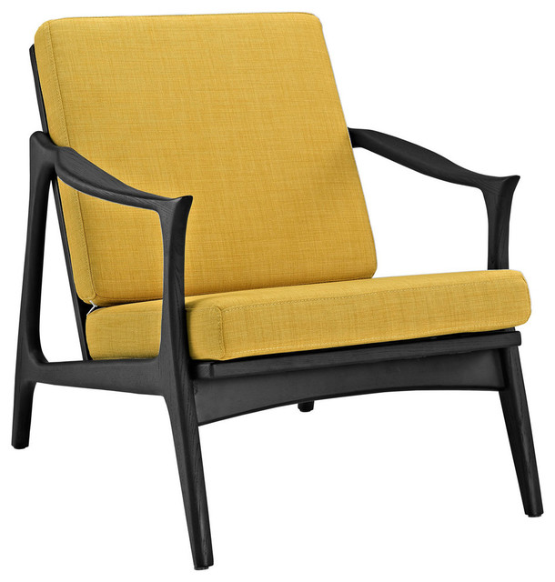 Modern Contemporary Armchair Yellow Fabric Contemporary