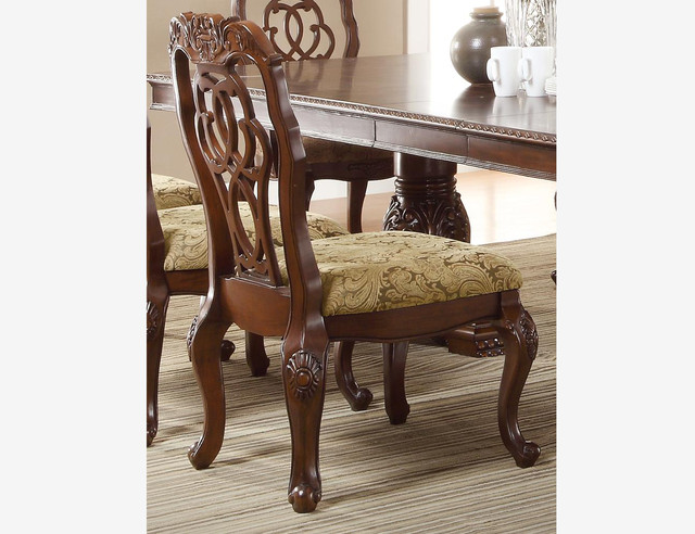 Coaster Formal Cherry Wood Dining Side Chairs Cushion Seat Ribbon Back