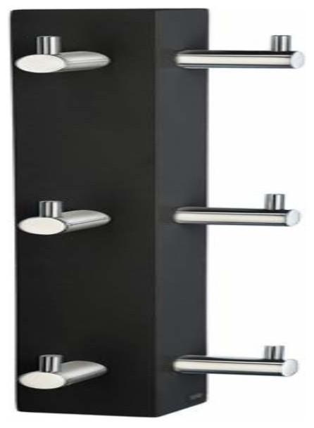 Smedbo vertical 6 hook rack black chrome steel - Black and chrome bathroom accessories ...