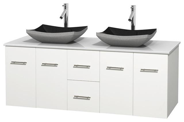 60 Double Bathroom Vanity White Man Made Stone Countertop Sink Contemporary Bathroom